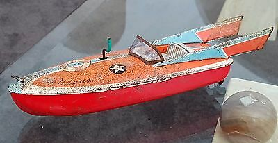 Vintage Tin Plate Lithographed Friction Drive Toy Venus Speedboat
