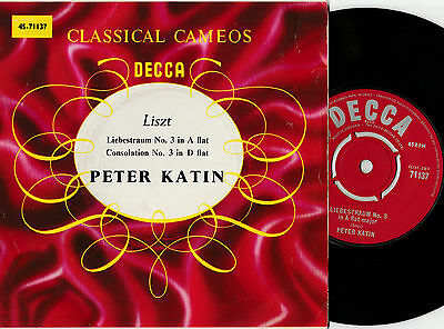 "Peter Katin Classical Cameos - Liszt (14912) 7"" Single  Decca 45-71137"