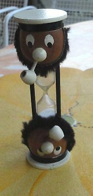 Midcentury Painted Wood 2 Head Sailor Pipe Beard Hour Glass Egg Timer Japan