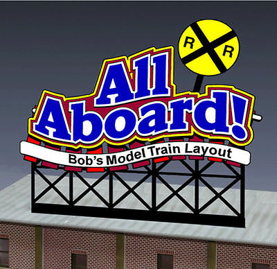 All Aboard Animated Billboard Sign for N HO Scale Miller 441852