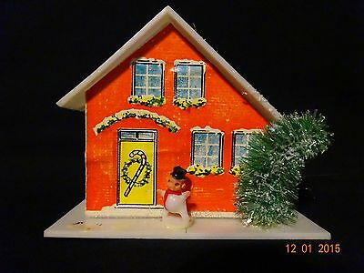 Christmas Ornament Vintage Plastic House W/ Snowman and Bottle Brush Tree