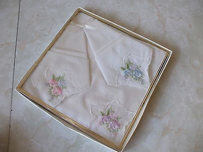 Vintage Retro Boxed Set of 3 Cotton Ladies Handkerchiefs