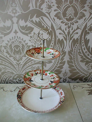 Vintage Retro 3 Tier China Cake Stand Mismatched Brown Green & Gold