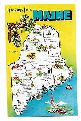Vintage Maine Chrome Postcard Greetings From State Map Pine Tree Vacationland