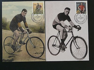 bicycle cycling Tour de France x2 maximum card Luxembourg 2002