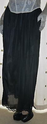 Beautiful black formal long maxi length  silky nylon petticoat half slip 20~22