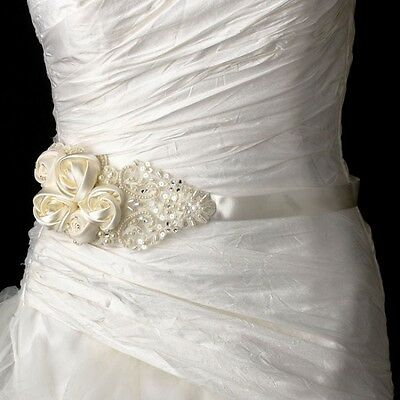 Ivory Bridal Sash Belt with Intricate Rhinestone & Pearl Beaded Lace Flower