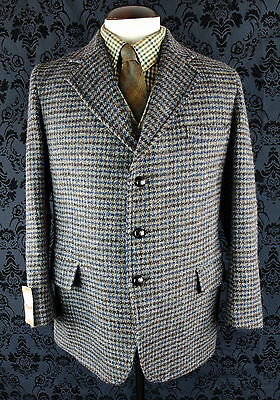 "Bnwt Deadstock Superb Mens Vtg Harris Tweed Jacket Blazer  Slim 42"" / 40"" Medium"