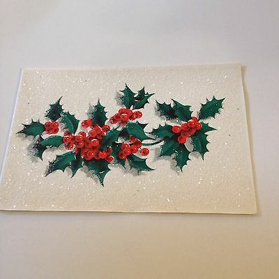 Vintage Greeting Card Christmas Norcross Glitter Holly Berries