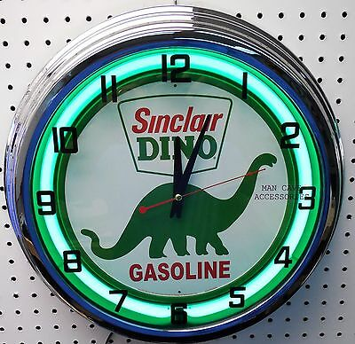 "17"" SINCLAIR Dino Gasoline Motor Oil Gas Station Sign Neon Clock"