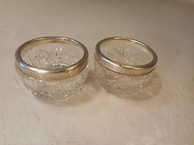 Pair of Cut Glass , Silver Rim Salt Pots  ref 1802