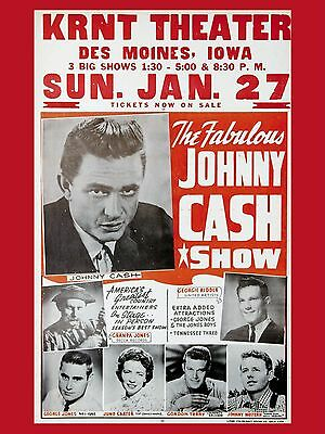 "Johnny Cash Iowa 16"" x 12"" Photo Repro Concert Poster"