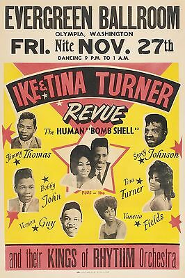 """Ike and Tina Turner Revue Evergreen 16"""" x 12"""" Photo Repro Concert Poster"""
