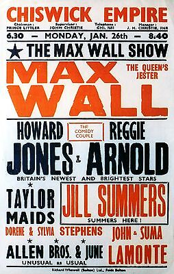 """Max Wall Chiswick 16"""" x 12"""" Photo Repro Concert Poster"""