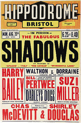 """The Shadows Bristol Hipperdrome 16"""" x 12"""" Photo Repro Concert Poster"""