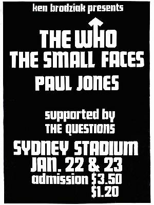 """The Who / Small Faces Australia 16"""" x 12"""" Photo Repro Concert Poster"""
