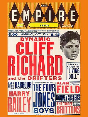 """Cliff Richard and the Shadows Leeds Empire 16"""" x 12"""" Photo Repro Concert Poster"""