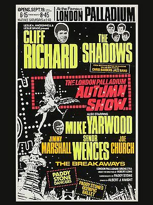 """Cliff Richard and the Shadows Palladium 16"""" x 12"""" Photo Repro Concert Poster"""