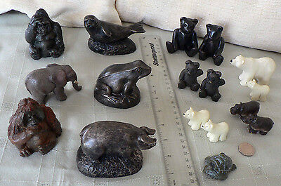 Resin Animal Figure: Bronze Effect, Orang-utan Pig Frog Elephant Gorilla Hippo