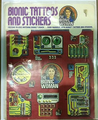 (1976) Kenner The Bionic Woman Bionic Tattoos And Stickers Still Sealed Mip!!