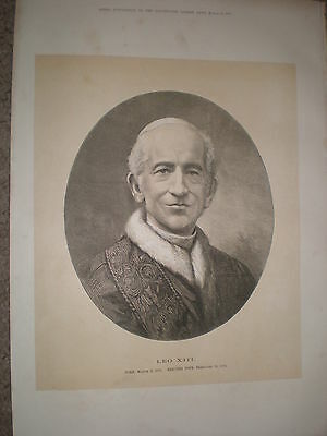 Newly elected Pope Leo XIII 1878 old print ref Y1