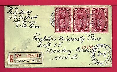 1929 Costa Rica Tri Franked Registered Cover To Usa