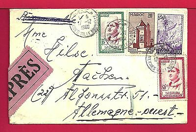 1960 Morocco Quad Franked Express Cover To Germany