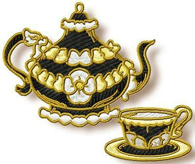 Tea Time Elegance 10 Machine Embroidery Designs Cd 2 Sizes Included