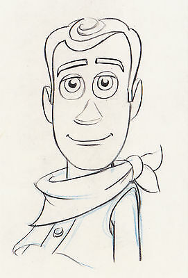 Disney Postcard Toy Story, Sketch of Woody Smiling 2009