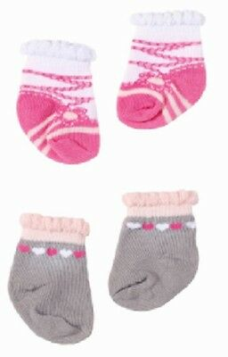 Baby Annabell Pack Of Two Pairs Of Socks Brand New On Header Card Design B