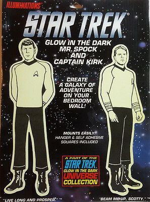 "1991 Star Trek.Kirk & Spock Glow in the Dark Universe Collection- 8.5"" (M5819)"