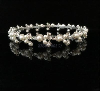 Diamante Round Pageant Crown Wedding Party Crystal Pearl Tiara Hair Jewelry