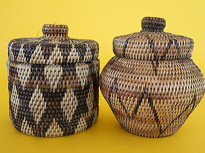 2 x Small Size Hand Woven Buka Basket Container For Spices or Grains?