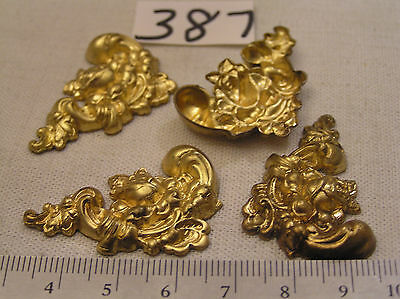 4 Vtg Fancy Art Nouveau Aged Brass Flower 38x23mm Jewelry Findings Haskell Craft