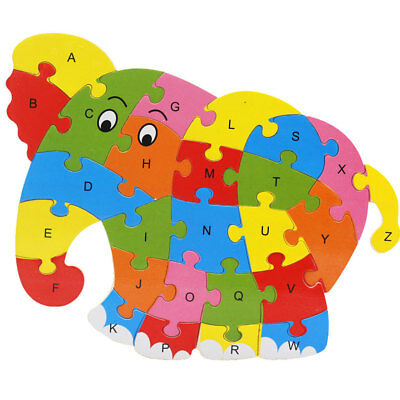 Kids Baby Wooden Elephant Puzzle Alphabet Jigsaw Learning Educational Toy