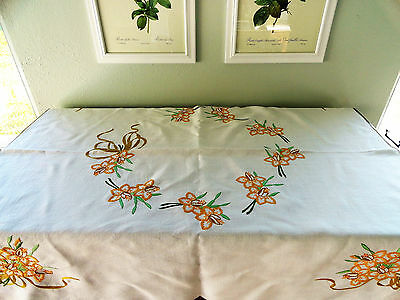 Daffodils Vintage Tablecloth Hand Embroidery Linen Fabric Appears Unused