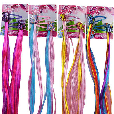 My little pony Kids Wig Girls Hairpiece & Hair Clips Kids Cosplay Toys Set 40cm