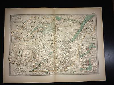 Antique 1897 Century Atlas Map - No. 61 - Quebec, Canada
