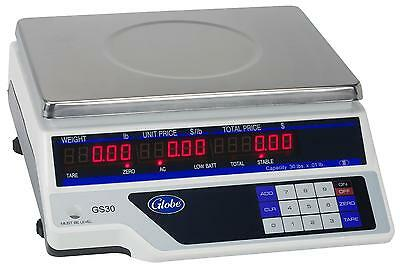 "Globe GS30 30lb Capacity Price Computing Scale with 11.75""x8.75"" Plate"