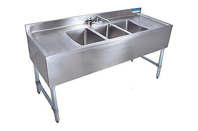 "BK Resources 60""W (3) 10""x14""x10"" Compartment Underbar Sink w/ S/s Leg"