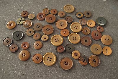 47 Antique Different Sizes, Shaped & Colours Tagua Nut Vegetable Ivory Buttons