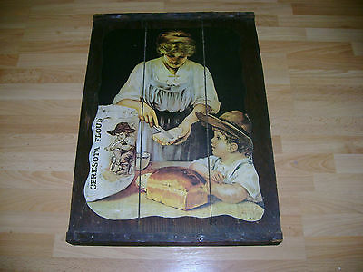Vintage Ceresota Flour Picture Poster Wooden Crate Sign Tray Esther J Smith