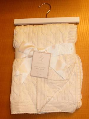 New Ivory White Cable Knit Baby Blanket by Little Luxury 100% Cotton