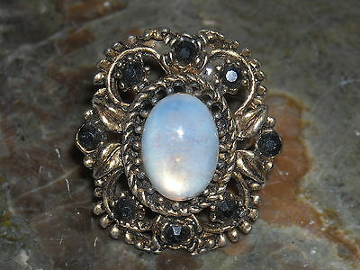 vintage glass moonstone black rhinestone gold over silver metal cocktail ring -