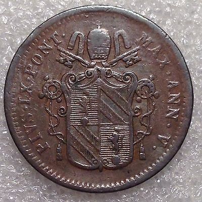 Papal States  1/2 Baiocco 1851 Copper
