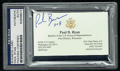 Paul Ryan signed autograph Business Card Speaker of the U.S. House PSA Slabbed