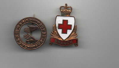 Red Cross Branch enamel pin plus Clean Hands for Health badge