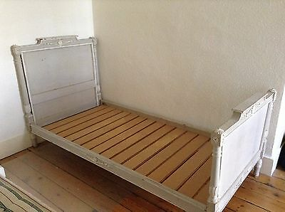 Antique French Vintage Pretty Painted Wooden Single Bed Frame & Custom Mattress
