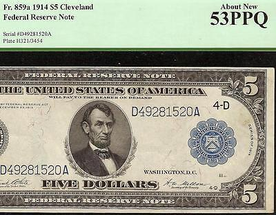 LARGE 1914 $5 DOLLAR BILL FEDERAL RESERVE NOTE BIG PAPER MONEY Fr 859a PCGS 53
