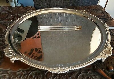 Antique Large Harrods Hallmarked Solid Sterling Silver Salver Tray 32.5 Cm 1938